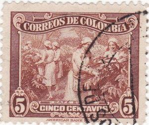 Kolumbie - známka s vyobrazením ručního sběru kávy