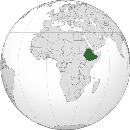 Etiopie - poloha na mapě světa
