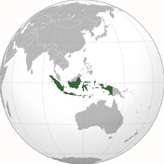 Indonésie na mapě světa
