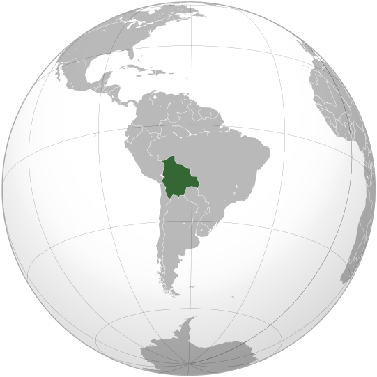 Bolívie - umístnění na mapě světa